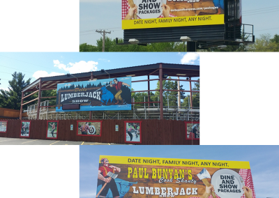 Dells Lumberjack Show and Paul Bunyan's Restaurant Billboards